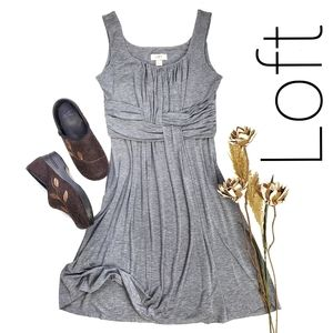LOFT Gray Rouged Soft Rayon Blend Sun Dress S